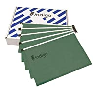 Indigo® Premium Suspension Files with Tabs & Inserts - A4 - Office Home Files Green (Pack of 10)