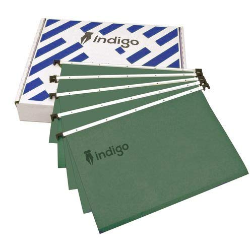Indigo Premium Suspension Files with Tabs & Inserts - A4 - Office Home Files Green (Pack of 10)