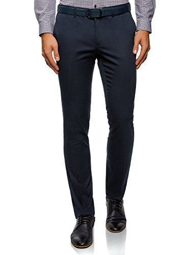 oodji Ultra Hombre Pantalones de Algodón con Solapas en los Bolsillos Traseros, Azul, 38