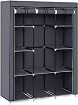 SONGMICS 51 Inch Portable Closet Wardrobe Storage Organizer with 10 Shelves, Quick and Easy to Assemble, Extra Space,51 x 17.8 x 65.8 Inch Grey URYG93G