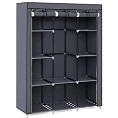 Sturdy & durable construction: with high quality steel tube frame and durable non-woven fabric, the overall load capacity could reach up to 110Lb and it will meet your long term storage needs Spacious storage closet: amazing size of 51Lx 17.8Wx 65.8H...