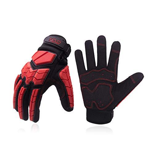 Heavy Duty Work Gloves, SBR Padding, TPR Protector Impact Gloves, Men Anti Vibration Mechanic Work Gloves TouchScreen (XL, Red)