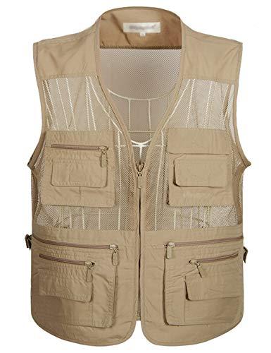 Flygo Men's Summer Mesh Fishing Vest Photography Work Multi-Pockets Outdoors Journalist's Vest Sleeveless Jacket (X-Large, Khaki)