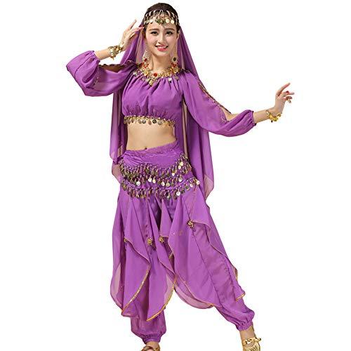 Xinvivion Mujer Danza del Vientre Disfraz, Danza India Etapa de Rendimiento Halloween Carnaval Bailando Outfit,Morado