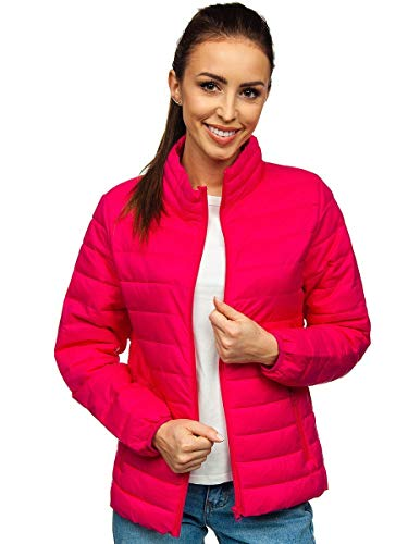 BOLF Damen Steppjacke Übergangsjacke Daunenjacke Reißverschluss Sportjacke Gepolstert Zip Outdoor Casual Style J.Style 20311 Rosa XL [D4D]