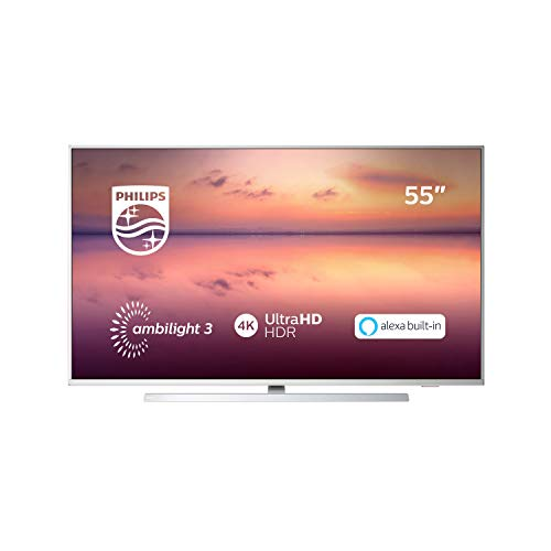 "Philips TV Ambilight 55PUS6814/12 55"" 4K UHD TV LED Pixel Precise Ultra HD, HDR10+, Dolby Vision∙Atmos, Smart TV, Alexa Integrata, Modello 2019/2020, Argento"