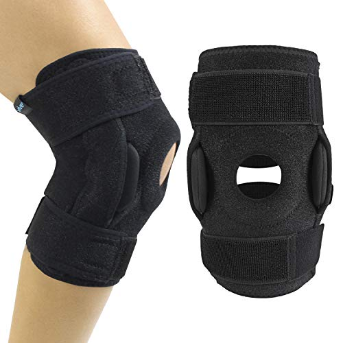 Hinges are located on both sides of the knee for added support. Can be removed if less support is needed. Improves medial and lateral stability, helping reduce injury and assist recovery. Helps with strains, sprains, instability and patellar tracking...