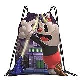 Cuphead mochila clásica con cordón, bolsa de cordón para jóvenes, bolsa de yoga portátil para hombres y mujeres, mochila deportiva, bolsa de almacenamiento de compras