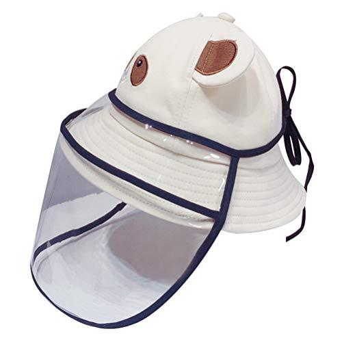 PRETYZOOM Sombrero de Seguridad Protector de Cara Completa Diseño de Oso Sombrero de Sol de Verano Gorra de Pescador a Prueba de Polvo Gorra a Prueba de Salpicaduras para Niños (Beige)
