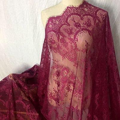 Tela de encaje de pestañas francesas de 3 m, 150 cm, color blanco, negro, exquisito, bordado de encaje, accesorios de vestido de novia RS702-morado rojo