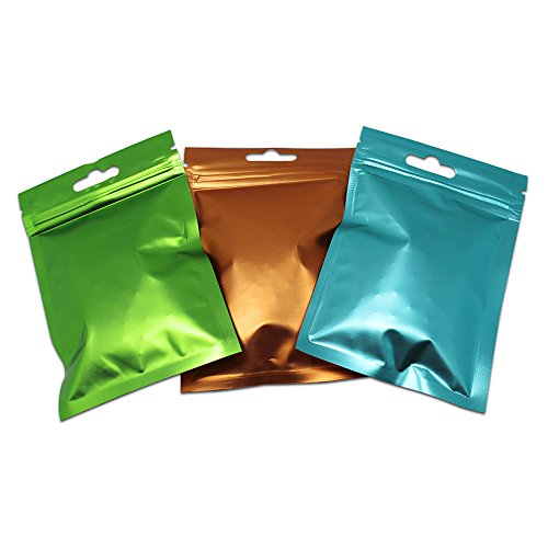 3.3x5.1 inch Aluminizing Zipper Resealable Snack Food Tea Packing Pouch Bag with Clear Window Front Clear Reusable Ziplock Foil Mylar Bags Heat Seal Hanging Sacks Green Pack of 200 Pcs