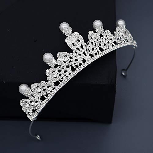 XJOE haar hoepel klassieke vintage parel kroon legering water boor holle luxe haar accessoires bruidssieraden
