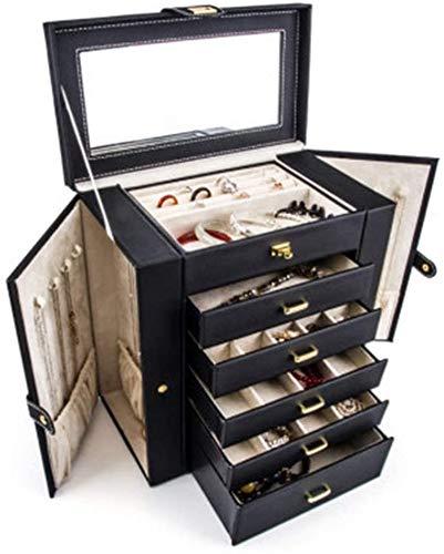 Multifunctional Caja de joyería joyería caja de joyas de longecapacidad princesastyle joyería joyería caja de almacenamiento collar pendiente caja joyería almacenamiento caja accesorios sart (color: n