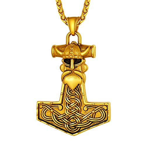 Richsteel Colgante Martillo de Thor de Oro Enchapado, Collar Vikingo Mjolnir con Cuervos de Odin