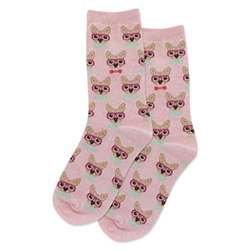 HotSox Smart Frenchie Kids Socks, Pink Heather, 1 Pair, Small/Medium