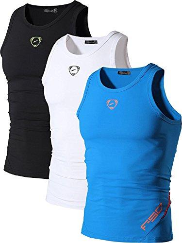 jeansian Herren Sportswear 3 Packs Sport Quick Dry Compression Tank Tops Vests Shirt LSL3306 PackA XL
