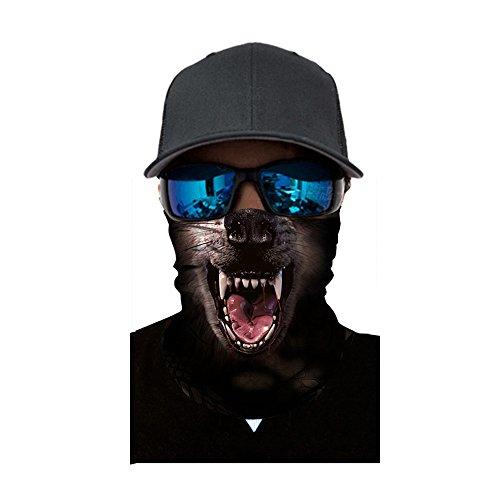 Sannysis Multifunktionstuch Mode 3D Tier gedrucktes Muster Mundschutz Motorradmaske Winddicht Sturmmaske Kopf Wrap Halstuch Schal Face-Shield Outdoor Tuch (Wolf)