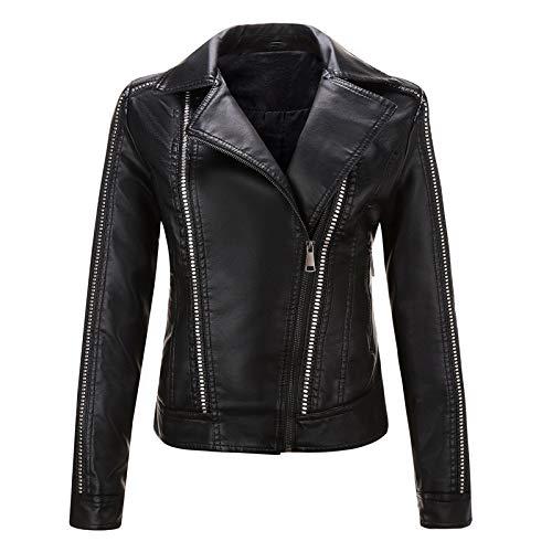 Damen Kunstleder Jacke Motorradjacke Bikerjacke PU Lederjacke Outwear Kurz Kurze Jacke Herbst Winter Übergangsjacke H3,Black,XL