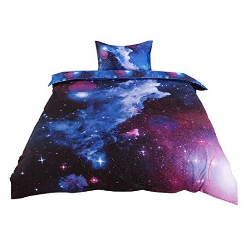 sourcingmap 2-piece Galaxies Blue Sky Pattern Comforter Duvet Cover Sets - 3D Printed Space Themed - All-season Reversible Design - Includes 1 Duvet Cover, 1 Pillow Sham