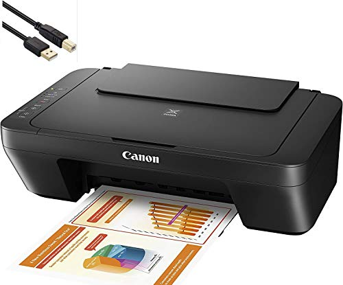 Canon PIXMA MG 2000 Series Photo All-in-One Color Inkjet Printer - 3-in-1 Print, Scan, and Copy for Home Business Office, Up to 4800 x 600 dpi Resolution - Black - BROAG 4 Feet USB Printer Cable