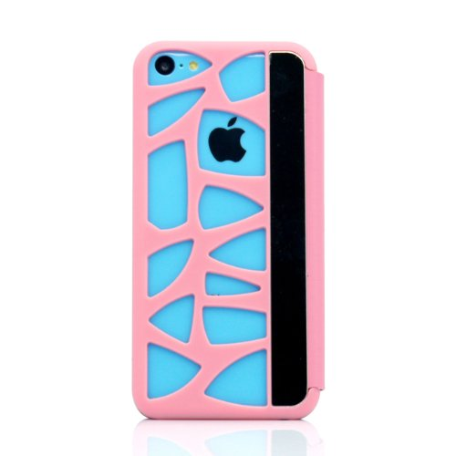 Gearonic GEARONIC for Apple iPhone 5C Flip Pink PU Leather Skin Hard Hollow Pattern Back Cover - Carrying Case - Non-Retail Packaging - Pink