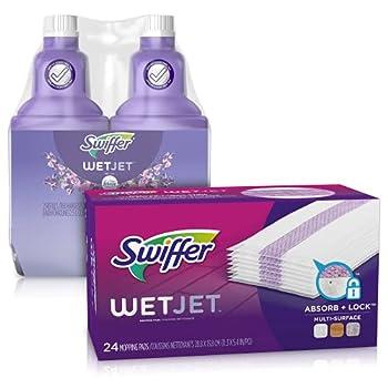 Swiffer WetJet Refill Kit  Floor Cleaner Mop Pad Refills and Floor Cleaner Solution Refills