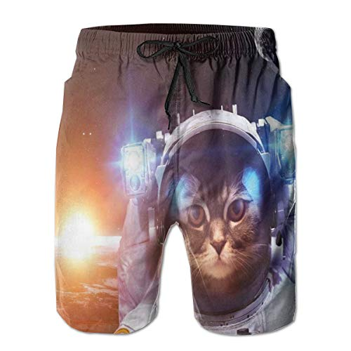 Men's Swim Trunks Board Shorts Beach Pants Surfing Boardshorts,Kitten In Space Suit Sun Lunar Eclipse Over Planet Stars Image,Fancy Print Hawaiian Shorts Four Size,XL