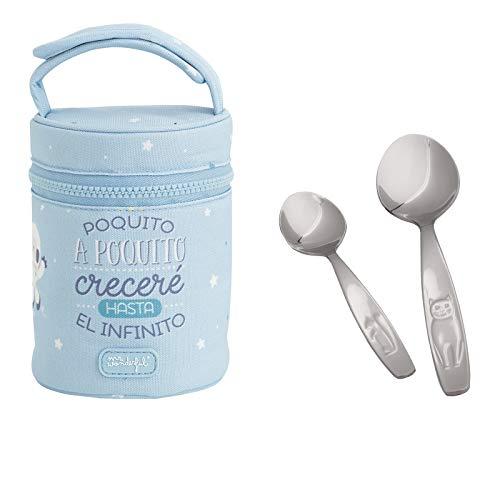 Pack de Termo Infantil en Acero Inoxidable con Aislamiento de Vacío para Líquidos y Sólidos Mr. Wonderful con Dos Cucharas Idurgo Baby, Capacidad 0.5 L, Color Azul