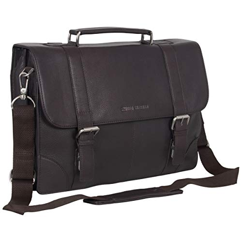 Ben Sherman Karino Leather 15' Laptop & Tablet Crossbody Business Bag With RFID, Flapover Portfolio, Brown