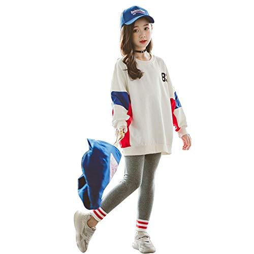 HurBer子供服 女の子 ジュニア スポーツウェア 上下 2点セット キッズ 長袖 ゆったり トップス レギンス 幼稚園 小学生 通園通学 ルームウェア (Apricot,160cm)