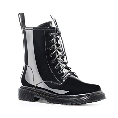 Women's Round Toe Lace Up Ankle Boots Patent Leather Mid Heel Waterproof Fashion Shoes