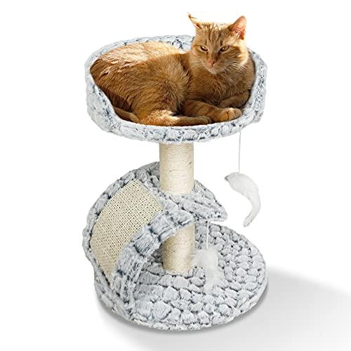 ne&no® Tiragraffi per gatti in effetto pelliccia, piccolo | tiragraffi per gatti | Tiragraffi | Giocattolo | Colonna tiragraffi moderno con peluche I Cat Tree