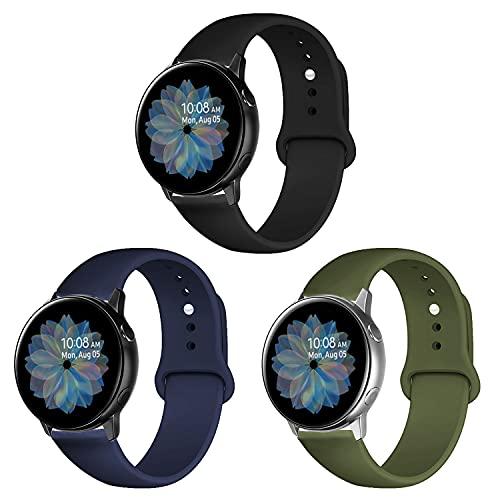 Band4u 20mm Correa Compatible con Samsung Galaxy Active 2 Watch 40mm 44mm/Active Watch, Galaxy Watch 3 41mm, Galaxy Watch 42mm, 3 Piezas de Correa de Silicona Suave de Repuesto