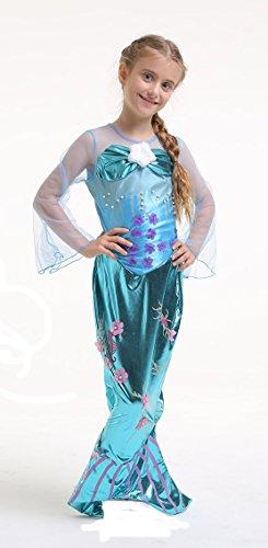 """Tante Tina Costume Bambina """"Sirena/Spirito delle Acque"""" - Blu - Tg. 140 (8-10 Anni)"""