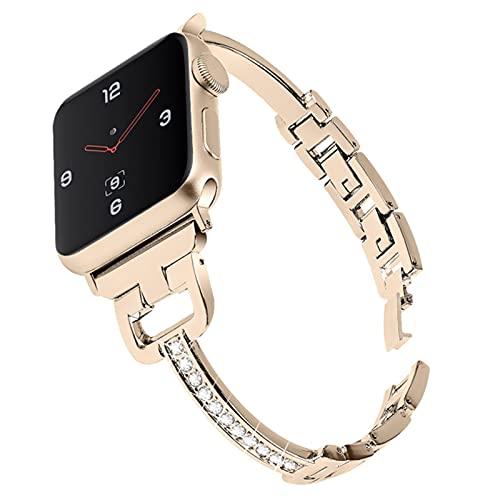 Correa de pulsera de acero inoxidable para Apple Watch, 38/40/42/44 mm Banda de metal para iWatch Series 6/5/4/3/2 / 1-Vingate dorado, 38 mm