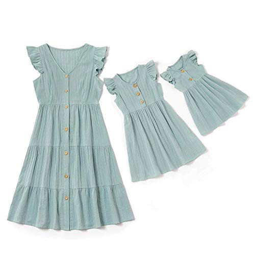 IFFEI Mommy and Me Matching Maxi Dress Sleeveless Matching Outfits for Mother and Daughter 4-5 Years Mint Green