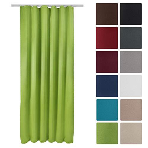 Beautissu Blackout-Vorhang Amelie BK mit Kräuselband - 140x245 cm Verdunklungsgardine Universalband Grün & weitere Farben