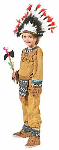 Funny Fashion Indianer Cherokee Jungen Kostüm, Braun, 128