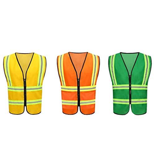 DBSCD Sicherheitsweste für Männer, BAU Nacht Sicherheitsweste Reitweste Schutzkleidung Reflektierende Weste (Orange)