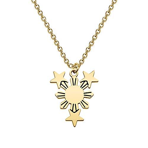 bobauna Philippine Sun Star Flag Necklace Filipina Philippine Pride Jewelry Gift For Filipino Family Friend (Philippine flag necklaceG)