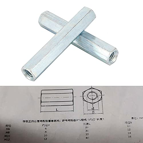 Nut, Long Rod Nut, Threaded Fasteners Hexagonal Long Rod 2PCS Sleeve Nut Communication Equipment Ship Assembly Office Appliance for Home