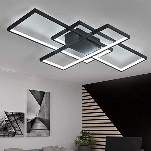 Moderna lampara LED de techo, lampara de comedor con mando a distancia regulable, pantalla de acrilico, lampara de techo de diseno cuadrado, para salon cocina - NP.3