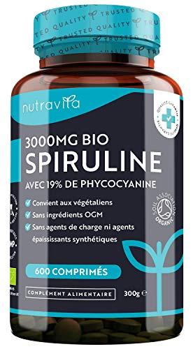 Spiruline BIO 3000mg par portion - 600 Comprimés Végan - 19% de Phycocyanine - Plus Haute Concentration en Principes Actifs - Riche en Nutriments, Protéines, Fer - Sans OGM et Excipients - Nutravita