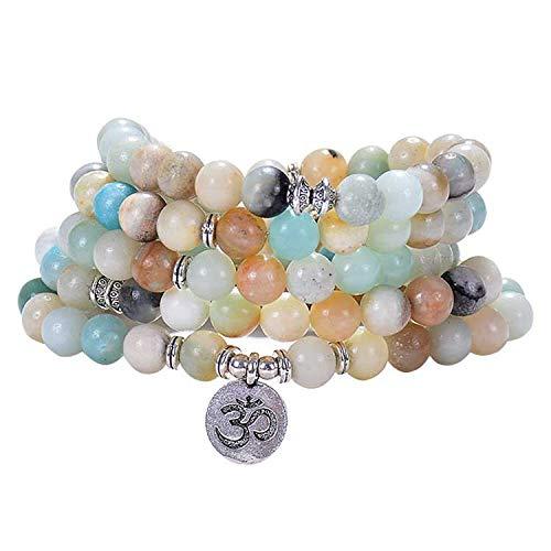 HJkkls 108 Pulsera de perlas de mala 8 mm de alta calidad Amazon Glassato piedra collar de oración budista tibetano árbol de la vida/Om/Lotus/Yoga meditación colgante