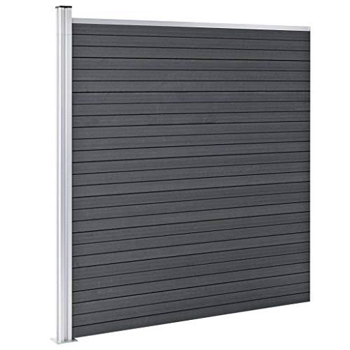 Festnight Gartenzaun WPC Windschutzzaun Lamellenzaun Windschutz Sichtschutz 180×186 cm Grau