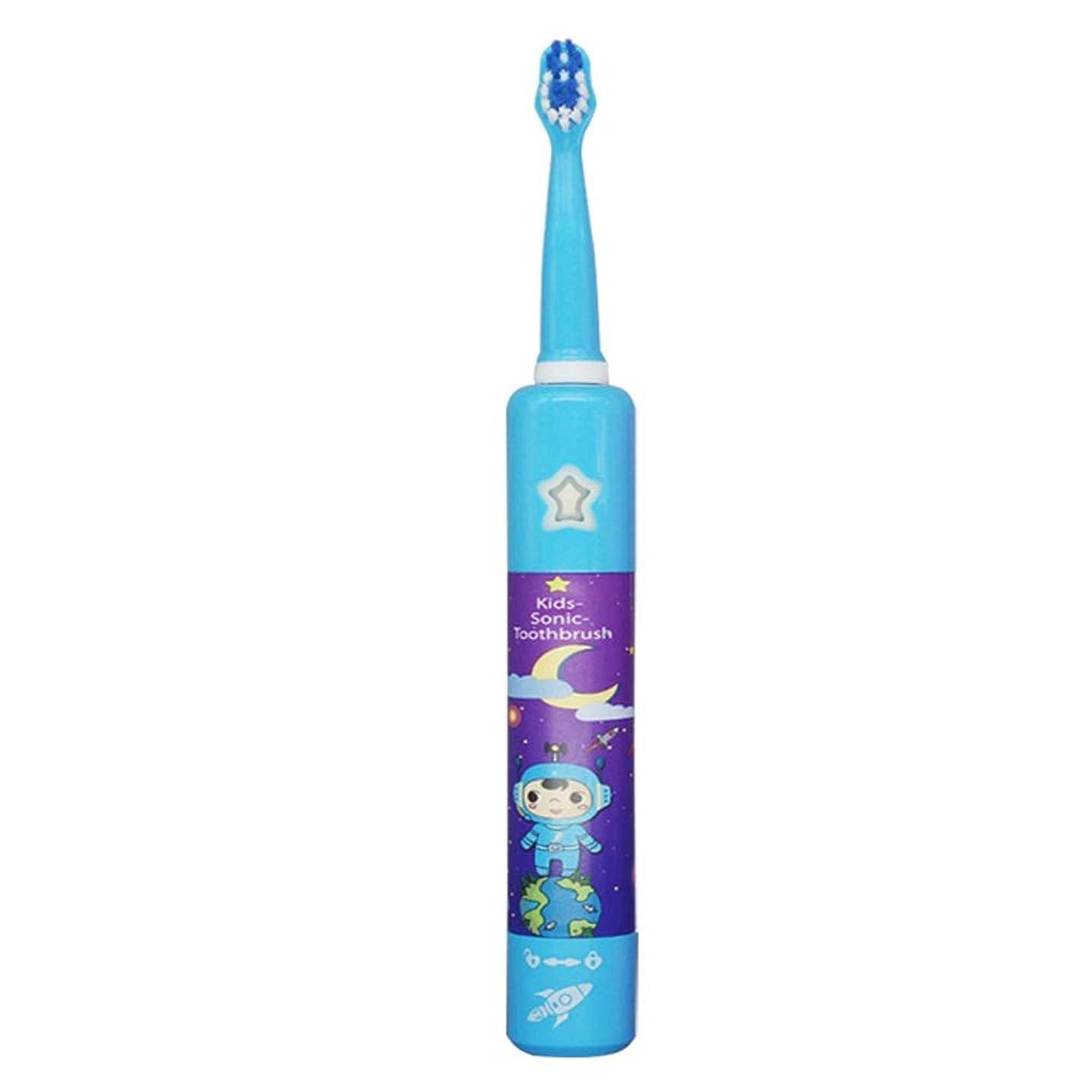 の頭の上ベーリング海峡中断電動歯ブラシ, 子供の電気USB充電式歯ブラシかわいい柔らかい髪音楽歯ブラシホルダーと1つの交換用ヘッド (色 : 青, サイズ : Free size)