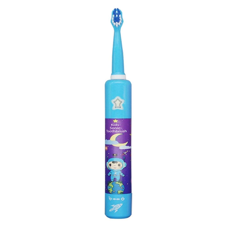 発見取り出すプラットフォーム電動歯ブラシ 子供の電動歯ブラシかわいい柔らかい髪音楽歯ブラシホルダーと1つの交換用ヘッドUSB充電式 (色 : 青, サイズ : Free size)