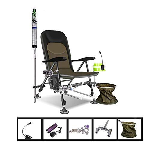 ZJM Liegestühle Angelstühle Klappbar mit Rutenhalter, Outdoor-Erholung Erwachsene Camp Chair, Rückenlehne mit Fünf Positionen und Vollständig Verstellbaren Beinen