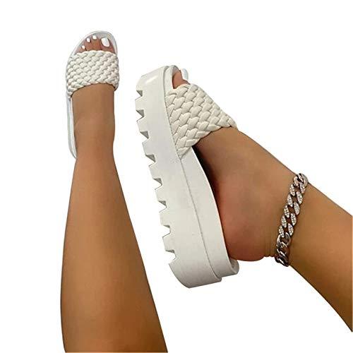 Sailsbury Zapatillas de estar por casa para mujer, con correa trenzada, de piel sintética, para verano, para...