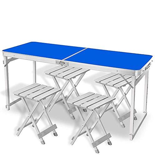 N/Z Tägliche Ausrüstung Klappbarer Camping-Tisch Verstellbarer tragbarer Picknicktisch mit 4 Aluminiumstühlen mit höhenverstellbaren Beinen Klapptisch für Camping-Grillparty C im Freien (Farbe: Blau)